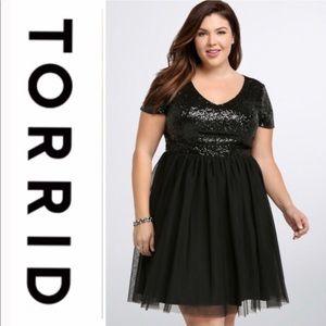 Torrid sequined tulle cocktail dress black size 16